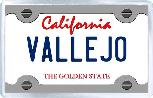 $3.29 - Acrylic Fridge Magnet: United States. License Plate of Vallejo California