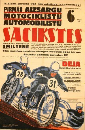 Latvian Motorcycle Rally, 1938 - original vintage poster listed on AntikBar.co.uk