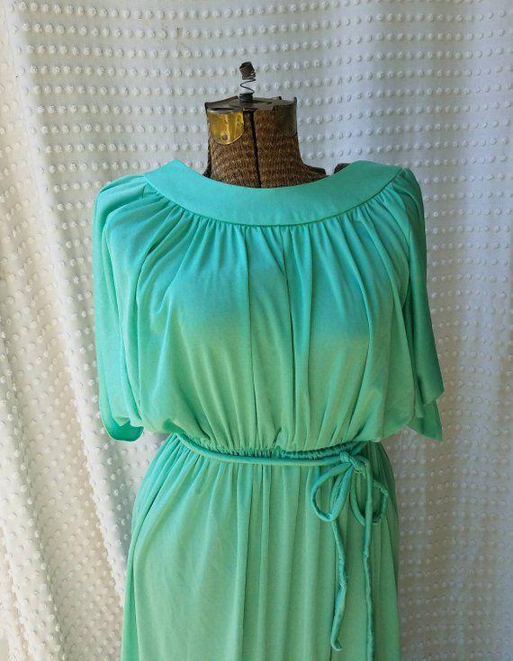 609ac9a0726 70s Maxi Dress - Seafoam Green Dress Vintage Flowing Disco Dress Retro  Clothing by Toni Todd Prom + Bridesmaid Dress Floor Length Dress