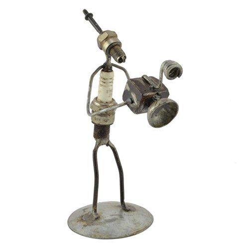 Recycled Spark Plug Photographer Metal Sculpture