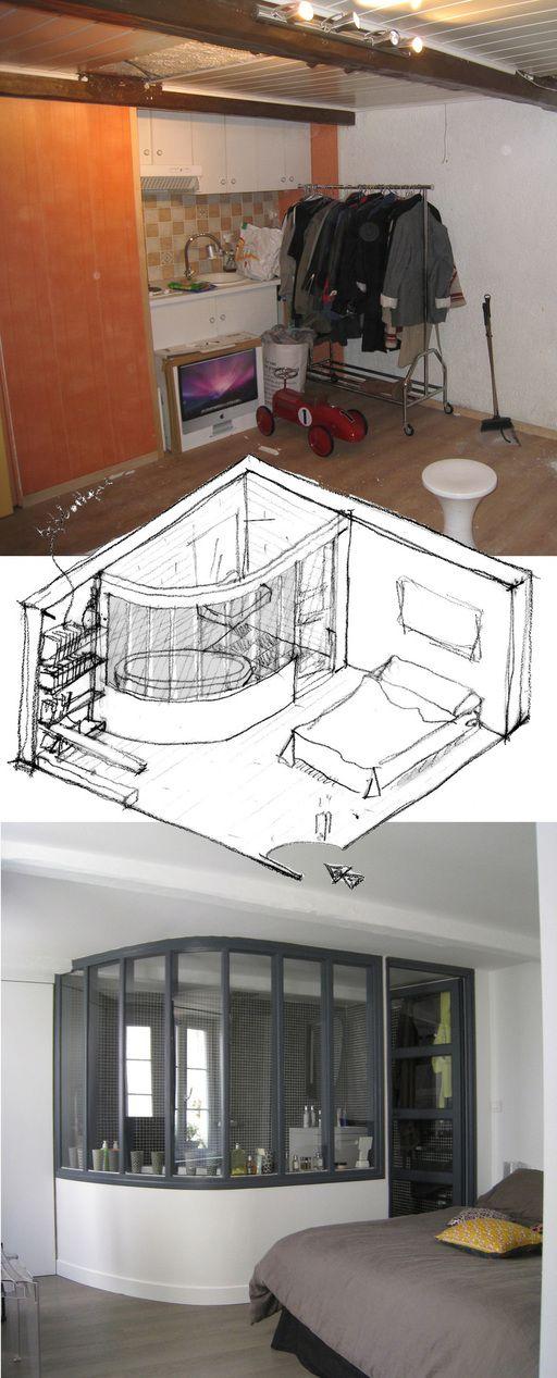 Vous nous avez réclamé les photos avant /après du projet de la salle de bains ouverte sur la chambre. Voici donc à quoi cela ressemblait il y a quelques mois, l'idée que nous avions et le résultat qui vous a plu. Voir aussi la note dans son intégralité