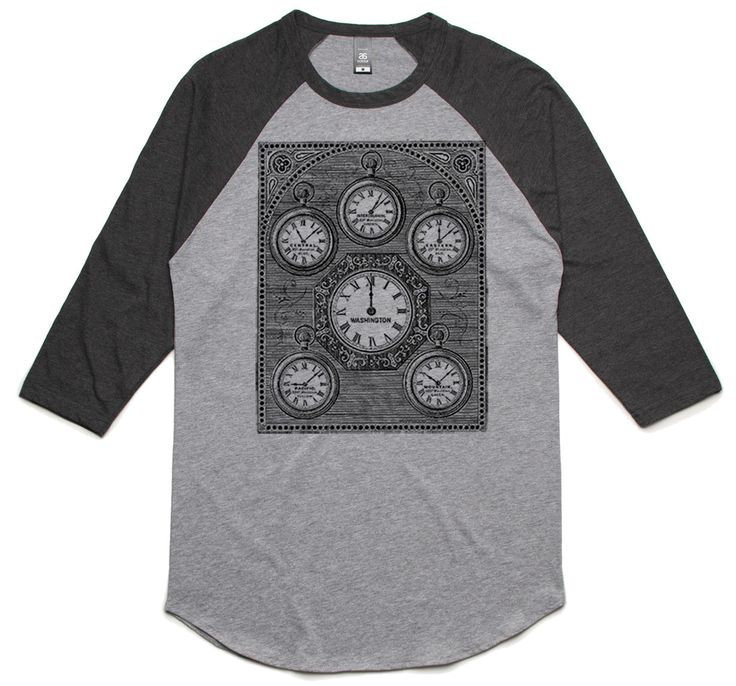 theIndie Antique International Clock (Black) 3/4-Sleeve Raglan Baseball T-Shirt