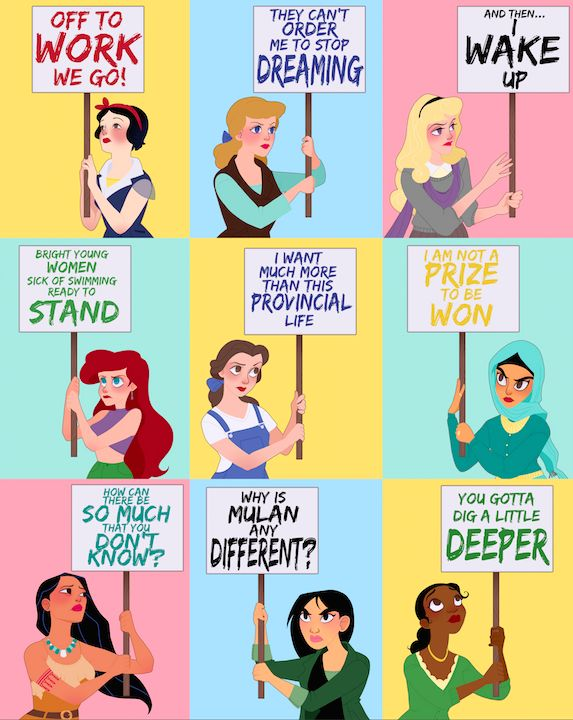 """Niday has created a series of cartoons where she reimagined Disney's leading ladies as women's rights activists, using quotes from the actual films they appear in. The series, called Protest Princess, was inspired by the Women's March that was held earlier this year. """"Women [were] coming together from all backgrounds to say 'we are HERE and we MATTER',"""" Niday said. """"I wanted to hold on to that message when it's often easier to feel like you can't make a difference no matter what you do."""""""