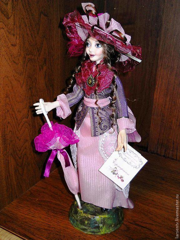 Купить Авторская кукла Александра - фуксия, авторская кукла, дама, зонтик, шляпа, розовый, благородность