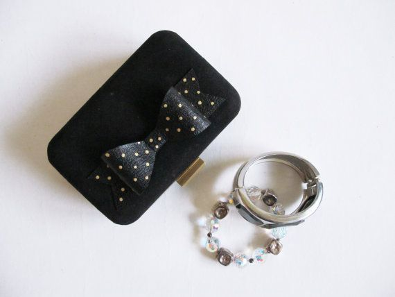 Little Black Bow Clutch Gold Dots /Lambskin Suede Leather Clutch/ Handcrafted/ Handmade