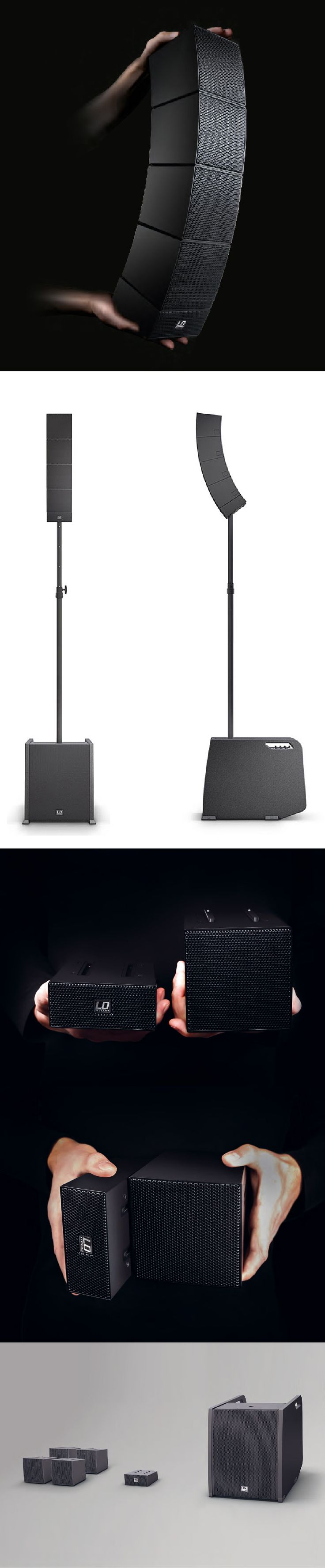 The portable sound system CURV500 designed by Spacekitchen Frankfurt is a compact line array with professional configuration options for many-sided applications.  The portable loudspeaker kit, with an integrated mixer, stands out due to a wireless plug-and-play coupling device of the array satellites. The design of the light subwoover is convincing with ergonomic carrying comfort and a design language, which communicates lightweight and usability.