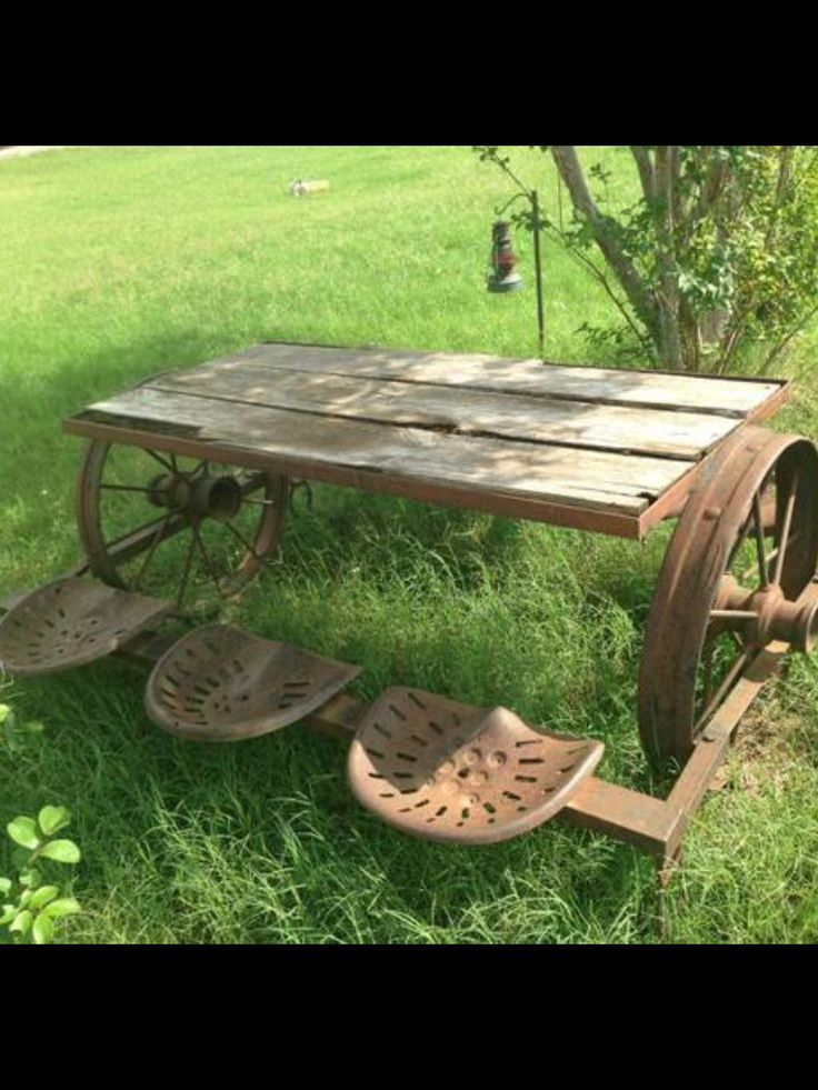 This would be fun to make a small version for little man. Sit in the tractor seat at his table outside.