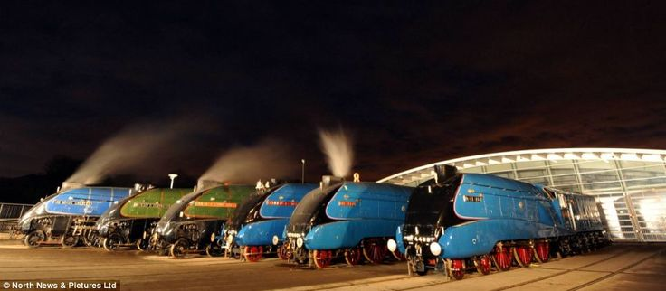 Six high-speed 'Gresleys' together once only: Mallard, Sir Nigel Gresley - named after the designer, Union of South Africa, Bittern, Dominion of Canada and Dwight D. Eisenhower