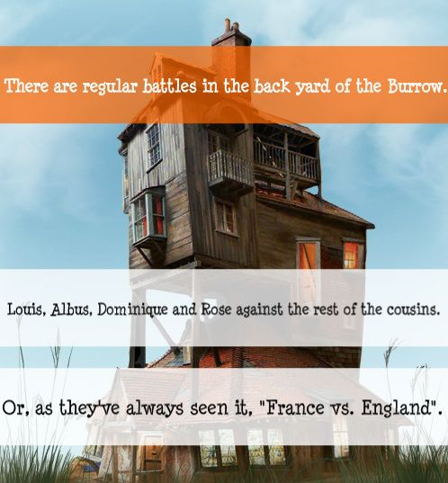 I love this, but France is very out numbered. That would be Louis, Albus, Dominique, and Rose against Victoire, Teddy Lupin (I don't care that he's not technically a cousin because he would take part in this too) Molly, Lucy, Roxanne, Fred, Hugo, James, and Lily! At least have Victoire fight for France!