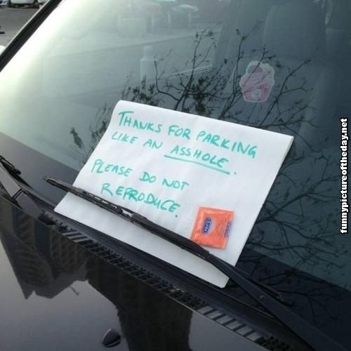 Thanks For Parking Like An A Hole Please Do Not Reproduce Funny Note On Car With Condom