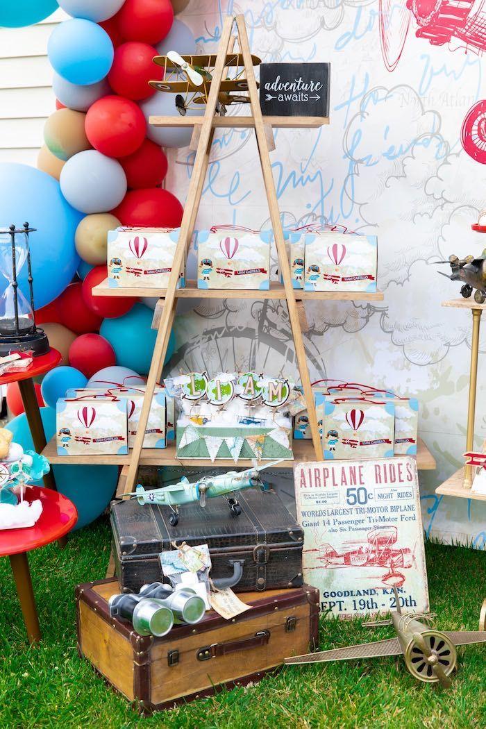 Ladder Favor Shelf From A Vintage Modern Aviator Birthday Party On Karas Ideas