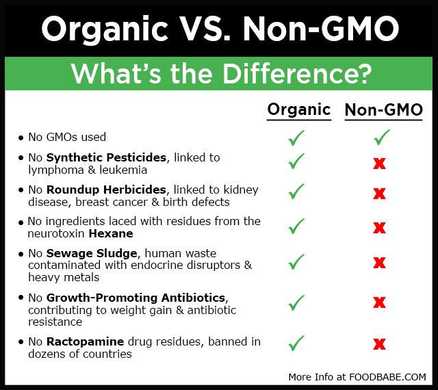 Organic vs Non-GMO:  both are important but how they are grown and prepared vary, learn the difference.  KNOW YOUR LABELS