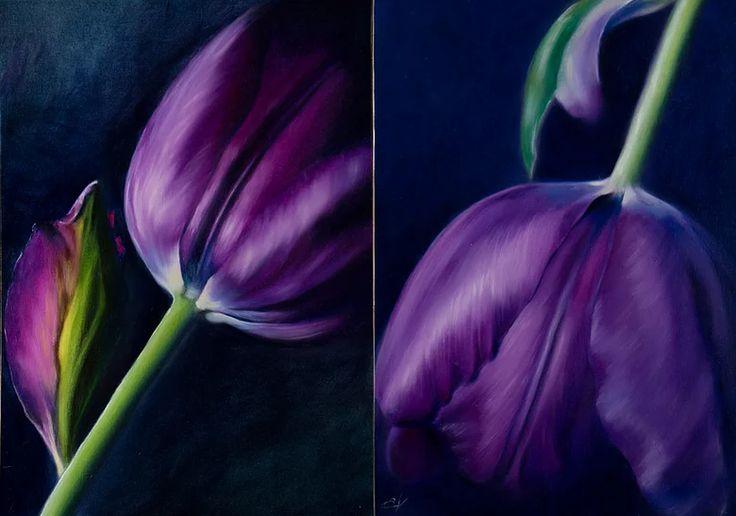 """The Tulips Couple in Purple Love"" - Oil painting.   Flower Painting   Elena Valerie Art   Australia"