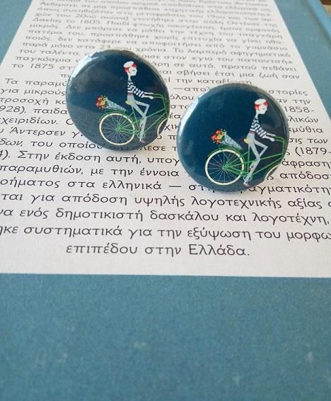 Cute French Girl on a bicyle clip on earrings!   #jewelry #clipons #buttons #bicycleearrings