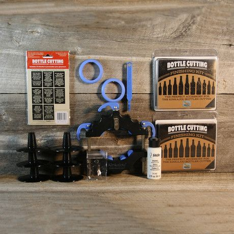 This innovative bottle cutting kit includes everything you'll need to create your own tumblers, vases, and bottle top wine glasses out of recycled bottles. Create a set of glasses from your favorite beer bottles or commemorate a special night by t...