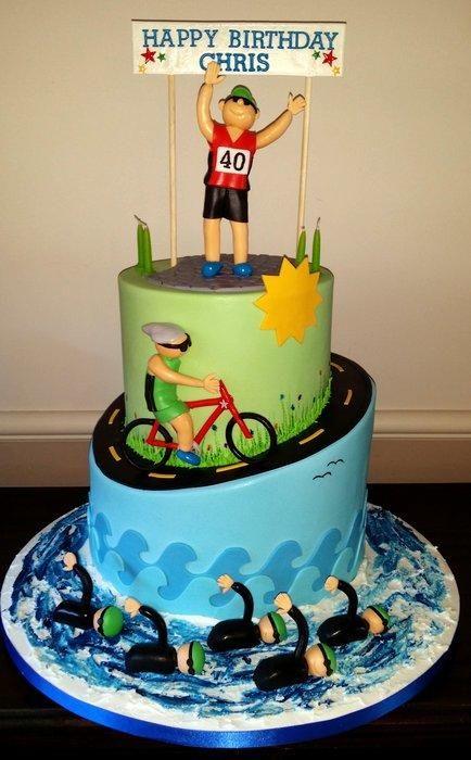 Triathlete 40th Birthday Cake