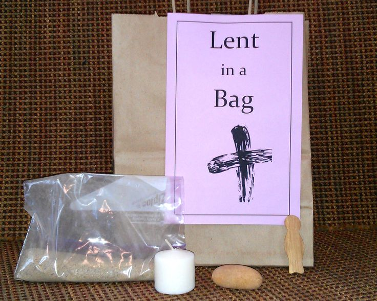 An activity that you can do at church or at home to teach symbols and meanings of the Christian season of Lent. A simple bag and basic materials.