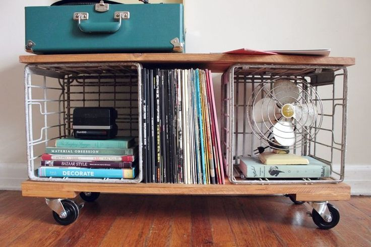 love this little home made record cabinet!
