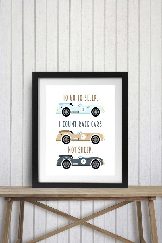 To Go To Sleep I Count Race Cars Not Sheep Chalkboard Typography Print; illustrated art print designed by R&R Retail Therapy. The price