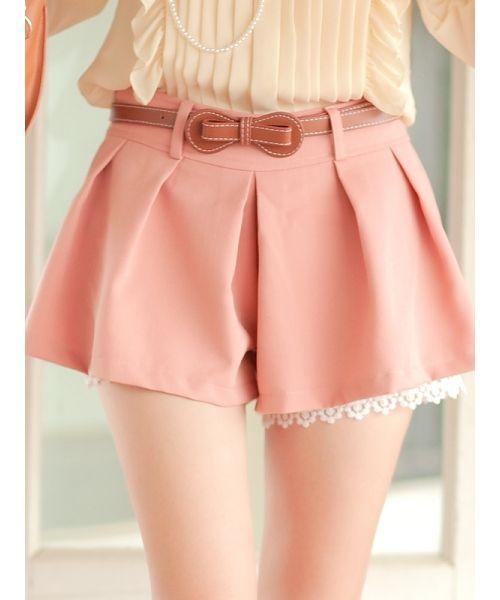 Cute pastel shorts  and bowtie belt #shorts #pastel #fashion