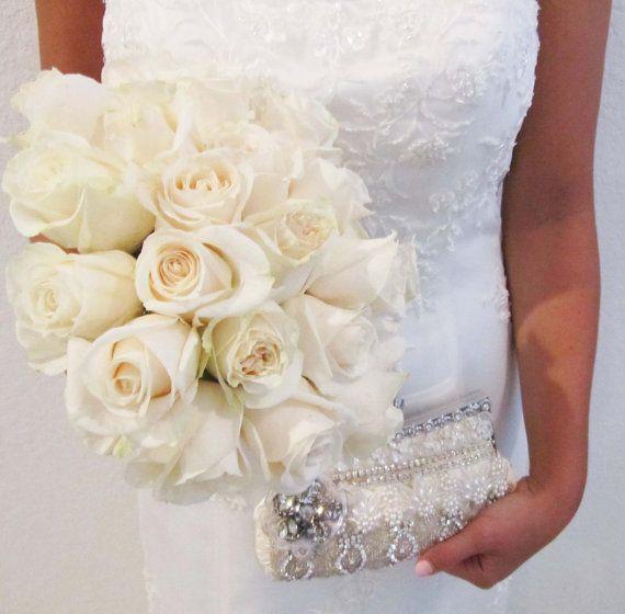 Ivory Bridal Clutch Rhinestone Bridal Clutch by CloeNoel on Etsy, $160.00