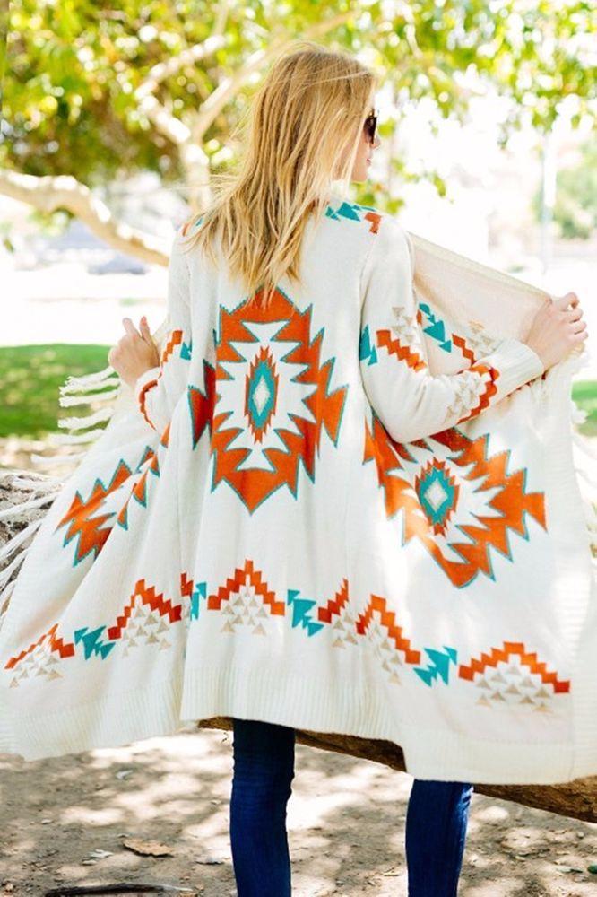 SANTA FE AZTEC CARDIGAN Fringe Boho Jacket Cowgirl Gypsy Western Southwest L/XL…