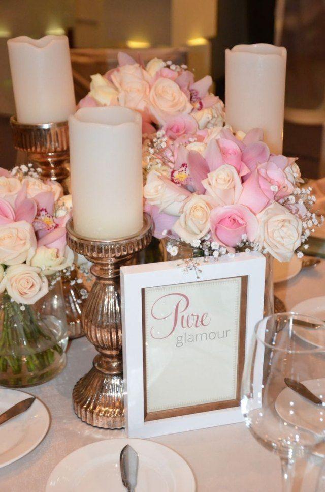 hochzeit fr hling tischdeko wei e stumpfkerzen rosen. Black Bedroom Furniture Sets. Home Design Ideas
