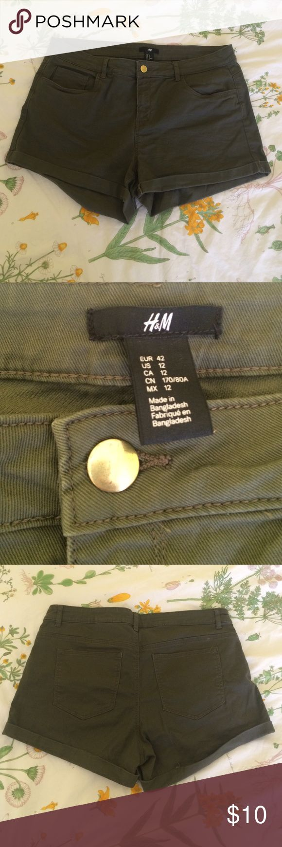 "H&M high-waisted olive green shorts size 12 These H&M shorts are an olive green and have never been worn! They are a size 12, high-waisted and the material had some stretch to them. The inseam measures at about 3"". H&M Shorts Jean Shorts"
