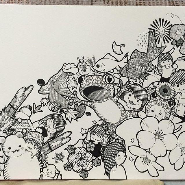 【shiro3576】さんのInstagramをピンしています。 《インスタを始める少し前に描いたもの。 「一年間」をイメージして描きました。 何だかお正月っぽい感じがしたのでpostしてみました😁  #One_year_period #一年間 #pen_drawing #ペン画 #Zentangle #ゼンタングル #門松 #鏡餅 #餅 #こたつ #羽根 #羽根つき #雪 #雪だるま #梅 #鳥 #桜 #蛙 #金魚 #向日葵 #朝顔 #花火 #紅葉 #楓 #イチョウ #どんぐり #栗 #十五夜 #兎 #ススキ》