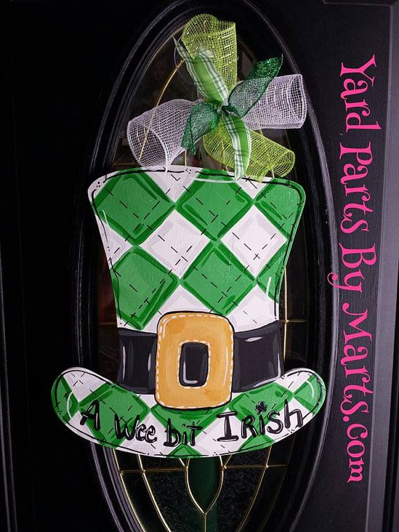 St. Patricks Day Door Hanger LEPRECHAUN HAT St Patty's Day IRISH decor Door Sign Wreath
