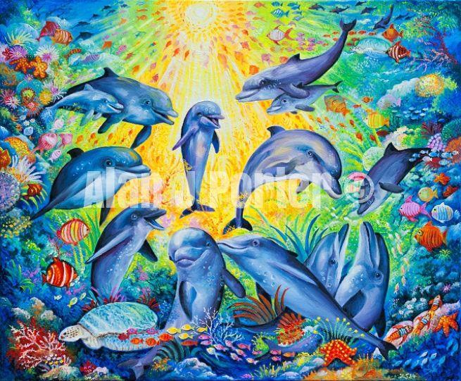 #alanjporterart #kompas #art #animals #dolphins #paintings #originals #oil #originaldesign #turtle #fish #sea