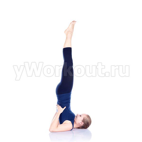 Мышцы живота напрячь, сделать вдох, поднять ноги под углом 90 градусов относительно туловища. Через 1-2 секунды поднять таз и нижнюю часть спины вверх, прижимая ладони к полу. Согнутые руки упереть локтями в пол, придерживая туловище ладонями. Корпус находится в строго вертикальном положении. Задержаться в верхней точке 2-3 минуты, после чего плавно вернуться в исходное положение.