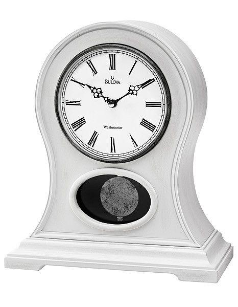 Bulova Allarie II Chiming Mantel Clock - White Wooden Case - Antique Finish