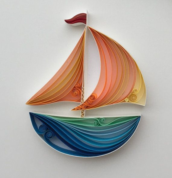This quilled paper artwork named Sail Away is handmade from colourful strips of paper.  Its placed in a deep frame, frame size is 15x20cm  This piece of