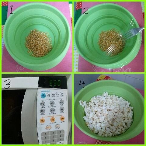 Pipoca Numa tigela de silicone coloquei milho de pipoca e um pouquinho de nada de água. Cobri com filme e furei com o garf (poderia ter usado o disco voador de cobrir prato). Microondas até parar de estourar, uns 6, 7 minutos.