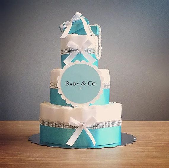 Baby & Co diaper cake with blue gift box door JennyKnickDesigns