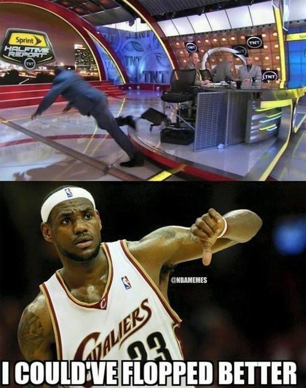 LeBron James on Shaq's FLOP! #shaqtinafall - http://nbafunnymeme.com/nba-memes/lebron-james-on-shaqs-flop-shaqtinafall