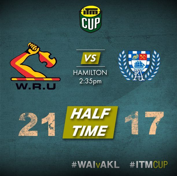 It is halftime and it is a close one with Waikato Rugby leading Auckland Rugby #WAIvAKL ITM Cup.