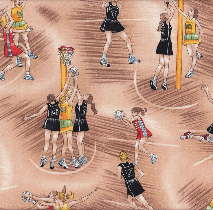 Netball Ladies Womens Girls Sport Quilt Fabric - Find a Fabric. Available to purchase in Fat Quarters, Half Metre, 3/4 Metre, 1 Metre and so on.