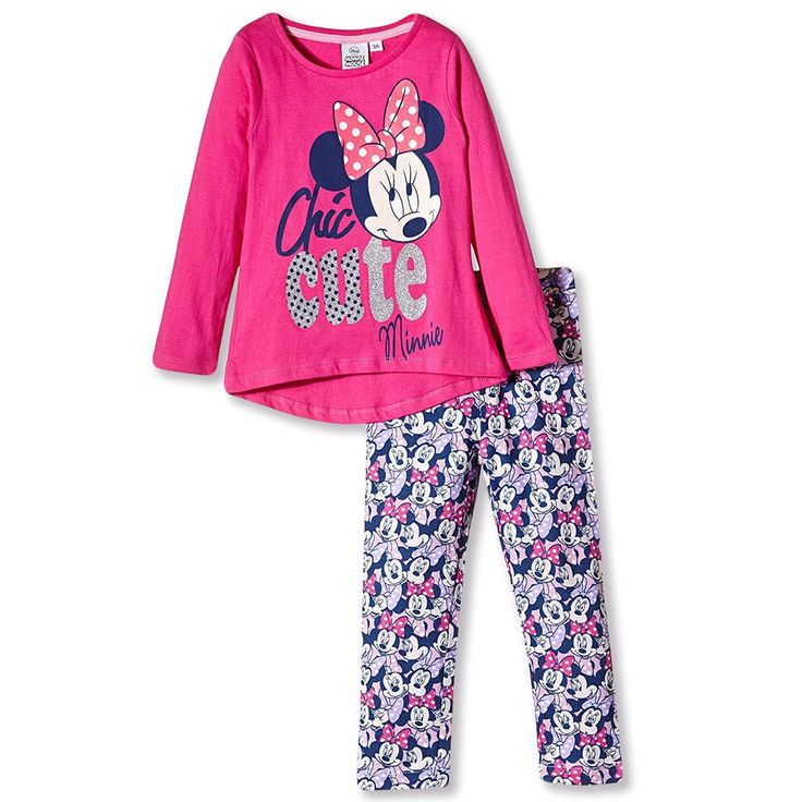 Disney Minnie Mouse Long Sleeve Pyjamas Set 100% Cotton 2-8 Years - Pink