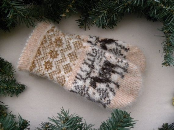 Wool hand knit mittens with deers by WarmWardrobe1 on Etsy, $20.00