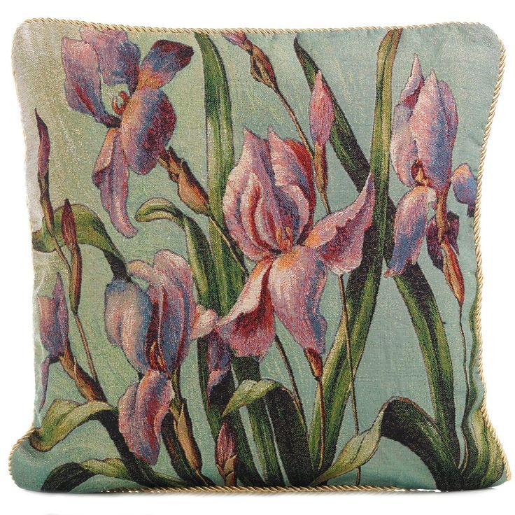 Tapestry Iris Cushion Cover, Green & Purple Cushion - PASX UK