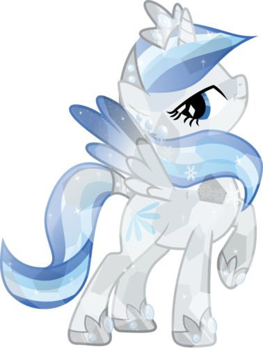 Such a pretty crystal Allicorn! Her name is Crystal Glaze. Her parents died when she was a child so she lived on an empty could. Then she moved to the Crystal Empire. One day she saved a young filly from falling off a cliff. Then she became a princess.
