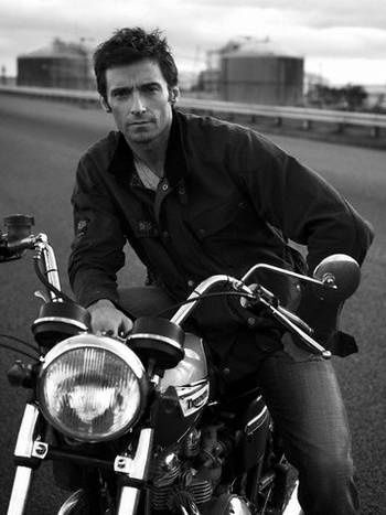 Hugh Jackman. on a motorcycle. life completion. MAJOR Drool Worthy