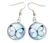 Cabochon, blauwe vlinder oorbellen
