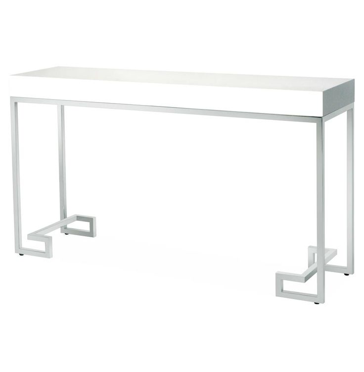 DaVinci Hollywood Regency White Lacquer Silver Console Table | Kathy Kuo Home