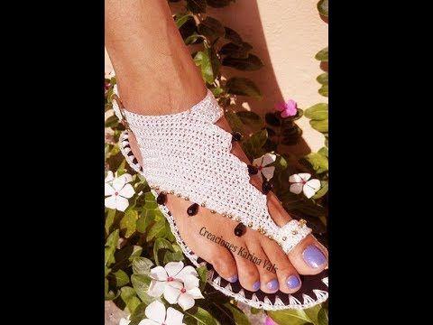 Sandalia a crochet con ganchillo paso a paso - YouTube