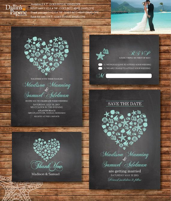 Beach Wedding Invitation printables, Destination wedding, Heart invitation, chalkboard, Customized DIY wedding, coral, turquoise, sea shell