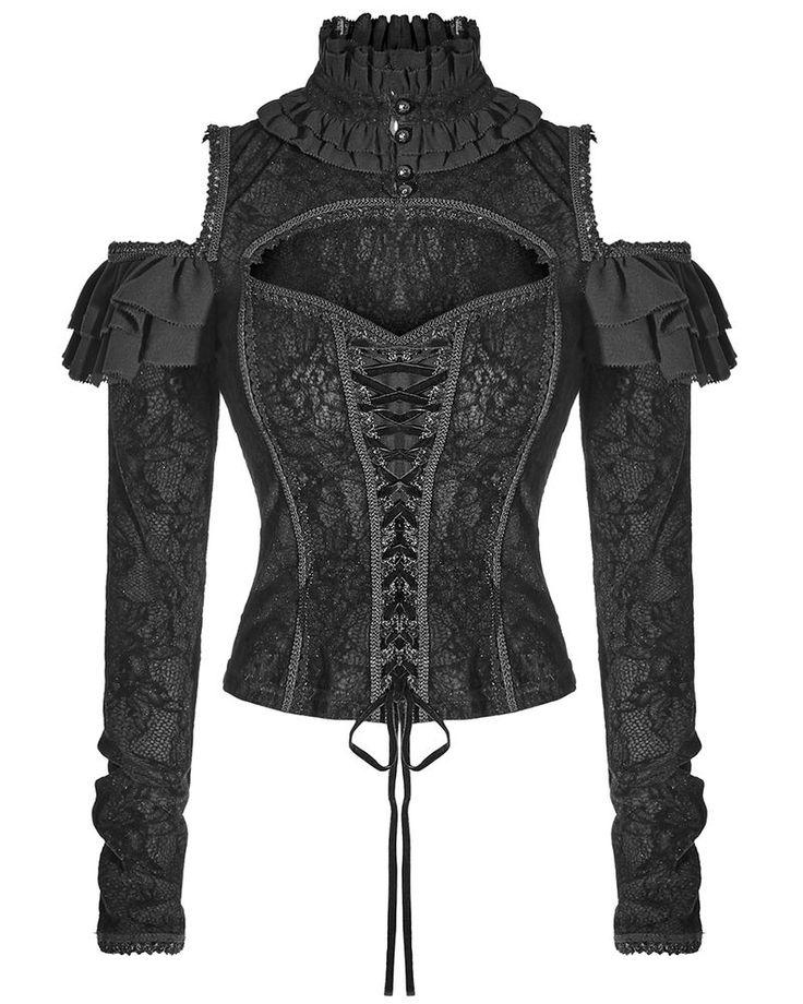 Punk Rave Blouse Top Womens Black Corset Gothic Steampunk VTG Victorian Velvet…