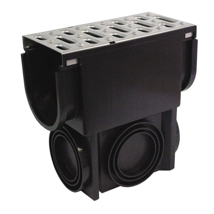 Easy Drain Series Slim Drainage Pit and Catch Basin for Modular Trench and Channel Drain Systems, Stainless Steel Grate, Black